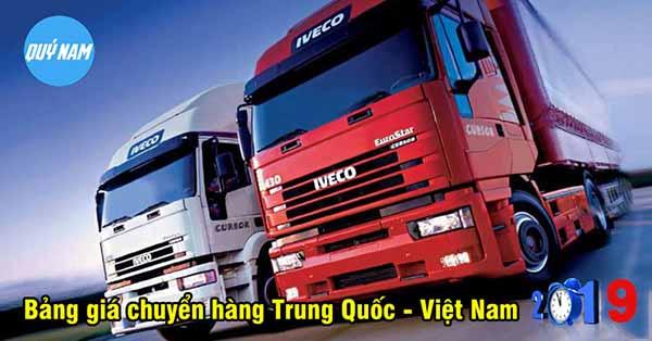 Bảng giá vận chuyển hàng Trung Quốc