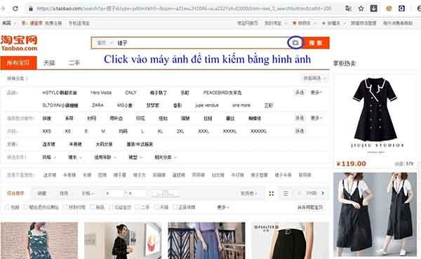 Tìm kiếm bằng hình ảnh trên Taobao
