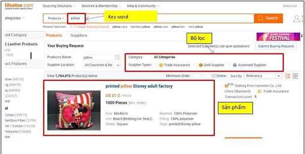 Tìm kiếm sản phẩm trên Alibaba