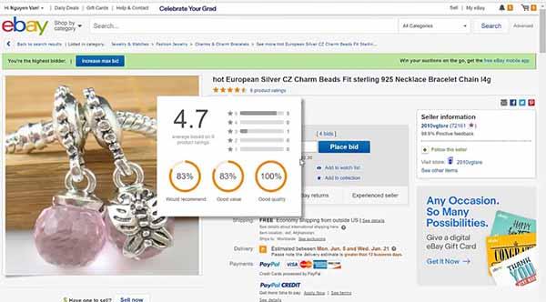 feedback của seller trên Ebay