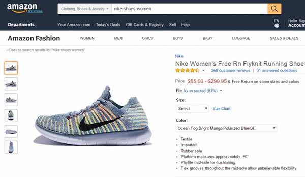 Mua giày nike trên Amazon