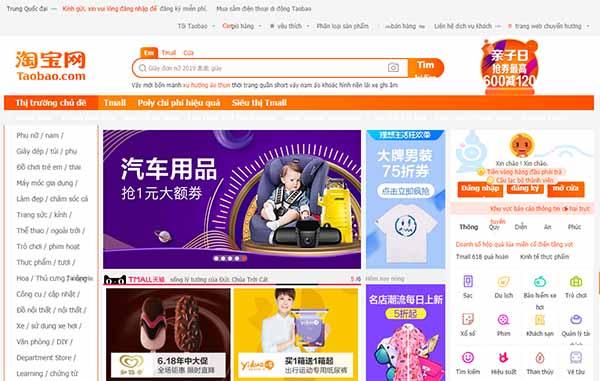 Đăng nhập web Taobao