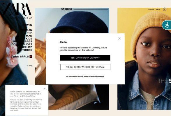 Giao diện đơn giản của website Zara Đức chính hãng