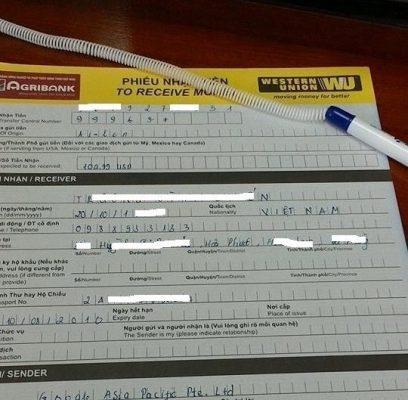 Phiếu nhận tiền giao dịch Western Union