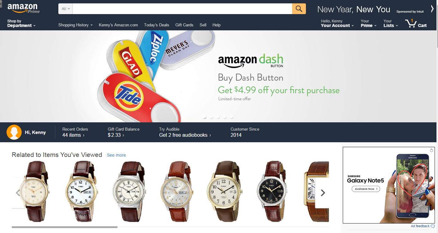 Giao diện của Amazon rất thân thiện với người dùng