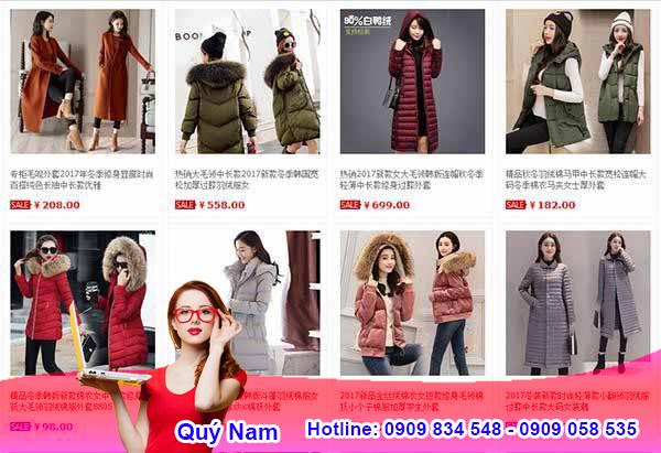 Mua sỉ áo phao nữ Quảng Châu trên Taobao.